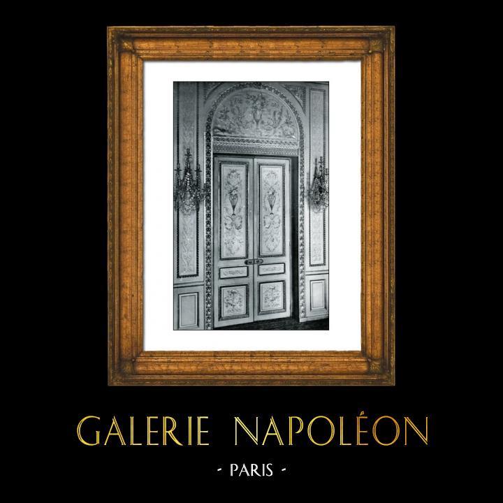 Gravures Anciennes & Dessins | Porte de Château - Grande Peinture - Louis XVI - Style de Salembier - Hotel Rue Neuve des Mathurins Paris | Phototypie | 1894