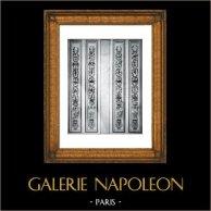 Decoration - Pilaster - Bois Peint et Doré - XVIIIème Siècle - Pavillon de Louveciennes - Comtesse du Barry (Guibert sculpteur) | Original collotype print by Berthaud. 1894