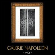 Decoração - Madeira Esculpida - Médaillons - Bois Sculpté - Arabesques - Louis XIV -  Ancien Salon de l'Hotel de Rochegude - Avignon | Gravura original em fototipia de Berthaud. 1894