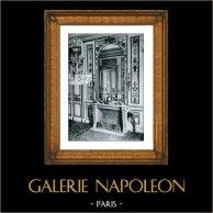 Focolare in Marmo (Cauvet) - Epoque Louis XVI - Boiseries Sculptées et Dorées - Hotel de Noailles Mouchy | Stampa originale in collotipia da Berthaud. 1894