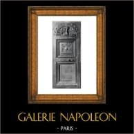 Carved Wood Door - Sacristy - Palais de Dijon - Scrin - XVIème Siècle - Musée de Dijon (Hugues Sambin Sculpteur) | Original collotype print by Berthaud. 1894