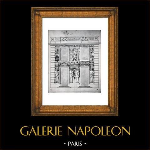 Decoração - Chateau de Marly - Projet de Charles Lebrun - Encre de Chine - XVIIIème Siècle - Musée du Louvre | Gravura original em fototipia de Berthaud. 1894