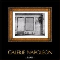 Decorazione - Salon pour la Duchesse de Mazarin- Dessin à la Plume - Epoque Louis XVI (Projet de Gilles Marie Cauvet) | Stampa originale in collotipia da Berthaud. 1894