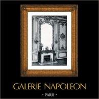 Decorazione - Specchio - Legno Intagliato e Dorato - Focolare - Règne de Louis XV - Salon des Pendules - Château de Versailles | Stampa originale in collotipia da Berthaud. 1894