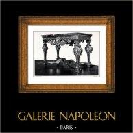 Antique Furniture - Console en Bois Sculpté et Doré - Mascaron - Grand Trianon - Château de Versailles - Louis XIV | Original collotype print by Berthaud. 1894