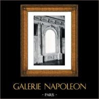 Espejo - Decoración - Mascarón - Columnas - Orden Corintio - XVIIème Siècle - Grand Trianon - Château de Versailles | Original grabado en fototipia de Berthaud. 1894