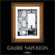 Decoración - Espejo - Madera Tallada y Dorada - Comedor de Luis XV de Francia - Palacio de Versalles | Original grabado en fototipia de Berthaud. 1894