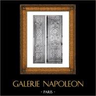 Portes en Bois Sculpté - Château de Versailles - Salon de Vénus - Escalier des Ambassadeurs - XVIIème Siècle (Philippe Caffiéri) | Phototypie originale de Berthaud. 1894