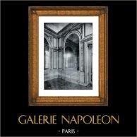 Decoration - Carved Wood - Petit Salon - Garlandes - Feuillages - Pilasters - Epoque Louis XVI (Hotel 29 rue de Sévigné Paris) | Original collotype print by Berthaud. 1894