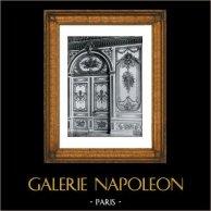 Carved Wood Door - Vault - Voussure - Trophy -  Décoration- Louis XV - Palais de Fontainebleau - Salle du Trône | Original collotype print by Berthaud. 1894