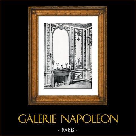 Dekoration - Salon - Marie Antoinette - Cheminée - Bois Sculpté Doré (Rousseau de la Rottière) - Château de Versailles | Original collotype av Berthaud. 1894
