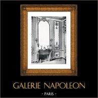 Decorazione - Salone - Maria Antonietta d'Asburgo-Lorena - Cheminée - Bois Sculpté Doré (Rousseau de la Rottière) - Château de Versailles | Stampa originale in collotipia da Berthaud. 1894