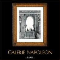 Focolare e Specchio - Camera da Letto - Luigi XIV di Francia - Palazzo di Versailles - Bois Sculpté Doré (Pierre Taupin - Jules Dugoulon) | Stampa originale in collotipia da Berthaud. 1894