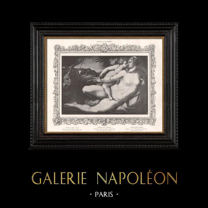 Stampe Antiche & Disegni   Nudo Femminile - Erotica - Curiosa - Cupido - Afrodite - Venere e l'Amore (Pontormo)   Incisione   1898