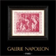 Nudo Femminile - Erotica - Curiosa - Baccanale (Peter Paul Rubens) | Stampa erotica originale in collotipia secondo Peter Paul Rubens. Anonima. 1898