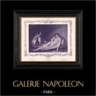 Nu Artistique - Erotica - Curiosa - Cupidon - L'Amour Pilote (Coomans)   Gravure érotique originale en phototypie d'après Coomans. Anonyme. 1898