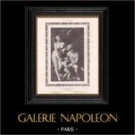 Desnudo Femenino - Erotica - Curiosa - Venus con Mercurio y Cupido (Peter Paul Rubens) | Grabado erótico original en fototipia segùn Peter Paul Rubens. Anónimo. 1898