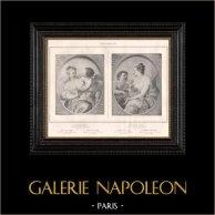 Nu Artistique - Erotica - Curiosa - Vénus et l'Amour - Aphrodite - Nymphe et Cupidon (Noël Coypel) | Gravure érotique originale en phototypie d'après Noël Coypel. Anonyme. 1898