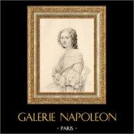 The Lady with a Fan - La Dame à l'éventail (Jean Auguste Dominique Ingres) | Original heliogravure on art paper after J. Auguste. 1910