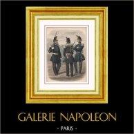 Napoléon III - Infanterie - Second Empire - Uniforme Militaire - Costume Français (1852) | Gravure sur acier originale. Anonyme. Aquarellée à la main (coloris d'époque). 1858