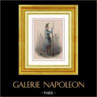 Napoléon III - Infanterie de Ligne - 1858 - Second Empire - Uniforme Militaire - Costume Français | Lithographie originale dessinée par H. Castelli. Aquarellée à la main (coloris d'époque). 1865