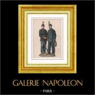 Napoléon III - Garde Nationale Mobile - Artillerie et Infanterie - 1868 - Second Empire - Uniforme Militaire - Costume Français | Gravure sur bois originale. Anonyme. Aquarellée à la main (coloris d'époque). 1872