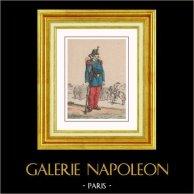 Infanterie - Troisième République - Uniforme Militaire - Costume Français (1871) | Gravure sur bois originale dessinée par G. Lemarec. Aquarellée à la main (coloris d'époque). 1871