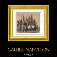 Soldato Napoleonico - Ritratto di Napoleone Buonaparte ed i suoi Soldati | Litografia originale disegnata da F. Grenier. Acquerellata a mano d'epoca. 1845