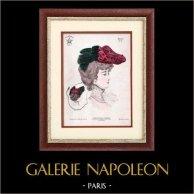 Moda Francesa - Paris - 1900 - Peinado y Sombrero - Maxim 9 | Grabado de moda . Anónimo. Coloreado a mano de epoca. 1900