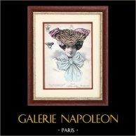 Moda Francesa - Paris - 1900 - Peinado y Sombrero - Gyp 109 | Grabado de moda  dibujado por Ch. Gangloff. Coloreado a mano de epoca. 1900