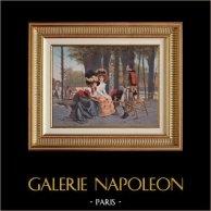 Napoleontische Soldier - Hussar - Uniform - Het leven in Parijs in 1793 - La Causerie (François Flameng)