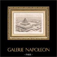 Temple Assyrien (Assyrie) | Gravure sur acier originale dessinée par C. Chipiez, gravée par Hibon. 1882