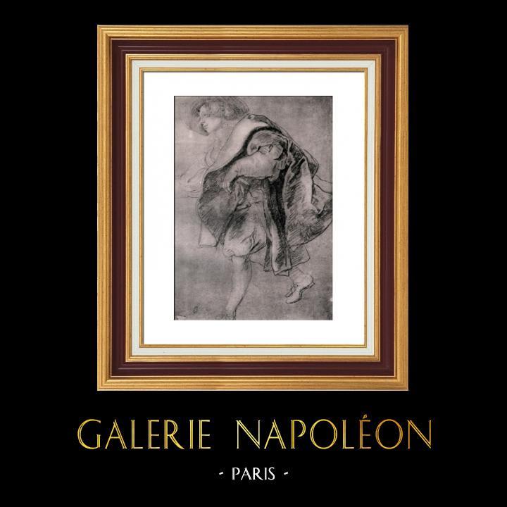 Gravures Anciennes & Dessins   Etude pour la Conversation à la Mode - Esquisse - Dessin - Le Jardin d'Amour (Peter Paul Rubens)   Héliogravure   1910