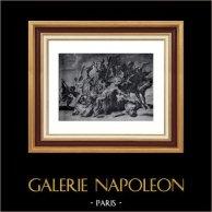 Gravure XVIIème Siècle - Chasse aux Lions - Rubens (Schelte Bolswert) | Héliogravure originale sur papier velin de Hollande Van Gelder Zonen. Anonyme. 1910