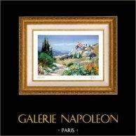 França - Provença - Paisagem em Provence - Alpilles - Aldeia na Montanha | Litografia a cor original desenhada por E. Fort. Assinada. Numerada E.A. 49/50. 1990