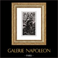 Angeli - Mitologia - Maria de' Medici in Minerva (Peter Paul Rubens) | Incisione su acciaio originale secondo Peter Paul Rubens incisa da Duthé. 1830