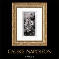 Mythologie - Les Parques - Les Moires - Nona - Decima - Morta (Peter Paul Rubens) | Gravure sur acier originale d'après Peter Paul Rubens gravée par Gabriel. 1830