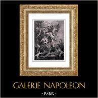 Mitologia - La Nascita della Regina Maria dei Medici a Firenze (Peter Paul Rubens) | Incisione su acciaio originale secondo Peter Paul Rubens incisa da Benoist. 1830