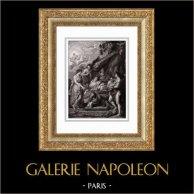 Angeli - Mitologia - Il Parto di Maria de' Medici - Nascita di Luigi XIII a Fontainebleau (Peter Paul Rubens) | Incisione su acciaio originale secondo Peter Paul Rubens incisa da Duthé. 1830