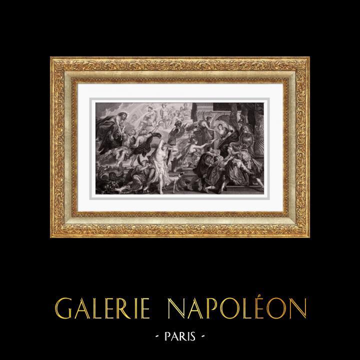 Gravures Anciennes & Dessins   Allégorie - Mythologie - Apothéose de Henri IV - Régence de Marie de Médicis - Jupiter - Minerve (Peter Paul Rubens)   Taille-douce   1830