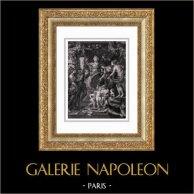 Marie de Médicis - La Félicité de la Régence - Anges - Mythologie (Peter Paul Rubens) | Gravure sur acier originale d'après Peter Paul Rubens gravée par Duthé. 1830