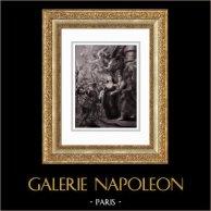 La Reine Marie de Médicis s'Enfuit du Château de Blois - Duc d'Épernon - Minerve (Peter Paul Rubens) | Gravure sur acier originale d'après Peter Paul Rubens gravée par Duthé. 1830