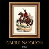 Napoleonisk Soldat - Uniform - Husar - Hussard - Kavalleri (1809) | Original trästick efter teckningar av Hippolyte Bellangé, graverade av Andrew Best Leloir. Original handkolorerad. 1844