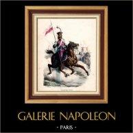 Napoleonisk Soldat - Uniform - Lansiär - Lancier - Imperial Gardet - Kavalleri | Original trästick efter teckningar av Hippolyte Bellangé, graverade av Quichon. Original handkolorerad. 1844