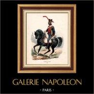 Soldat Napoléonien - Uniforme - Artillerie à Cheval - Cavalerie (1812) | Gravure sur bois originale dessinée par Hippolyte Bellangé, gravée par Porret. Colorée à la main (coloris d'époque). 1844