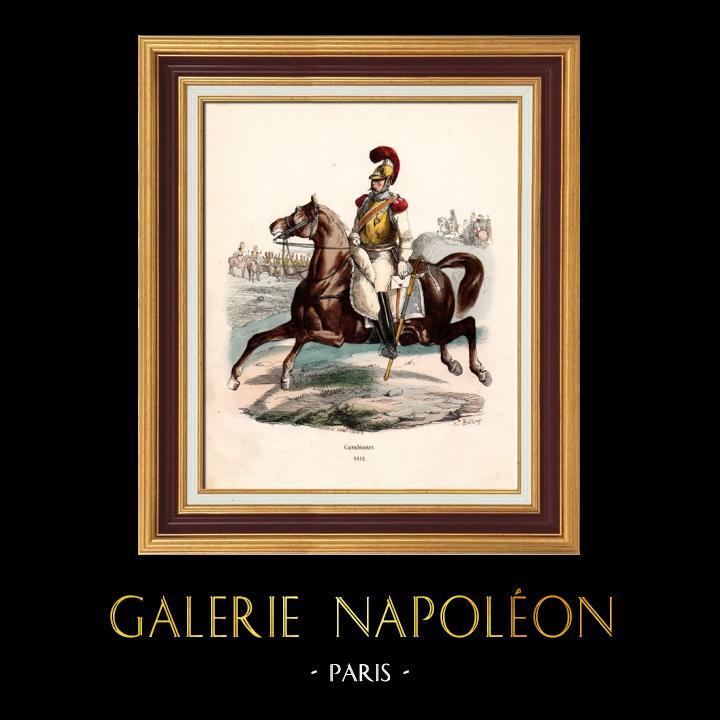 Gravures Anciennes & Dessins | Soldat Napoléonien - Uniforme - Carabinier - Cavalerie (1812) | Gravure sur bois | 1844