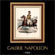 Soldado Napoleónico - Traje - Carabinero - Carabinier - Caballería (1812) | Original grabado en madera (xilografía) dibujado por Hippolyte Bellangé, grabado por Andrew Best Leloir. Coloreado a mano de epoca. 1844