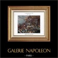 Campaña Napoleónica en Egipto - Imperio Otomano - Sitio - Asedio de Acre - Jezzar Pasha - Napoleón Bonaparte - Guerras Napoleónicas - 1799 | Original typogravure de Boussod & Valadon. 1890