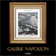Napoleone Bonaparte Varca le Alpi al Gran San Bernardo - Una Divisione Arriva al Convento - Guerre Napoleoniche - 1800 | Typogravure originale di Boussod & Valadon secondo Thévenin. 1890