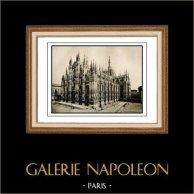 Cattedrale - Duomo di Milano (Italia) | Incisione heliogravure originale su carta d'arte. Anonima. 1920